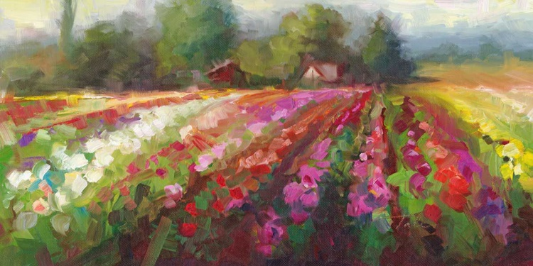 Trespassing - plein air landscape of Swan Island Dahlias - Image 0