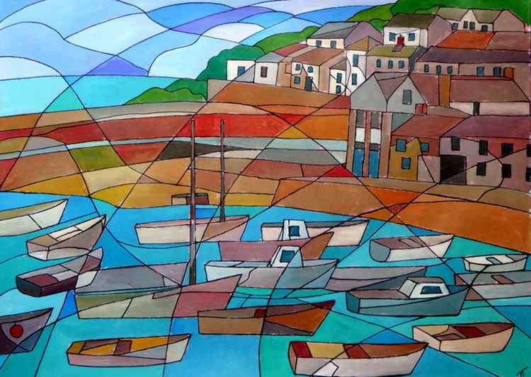 Mousehole harbour boats.