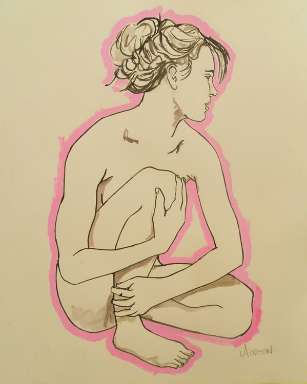 Nude Art Original Figure Drawing Female Nude Water Color Life Painting - Image 0