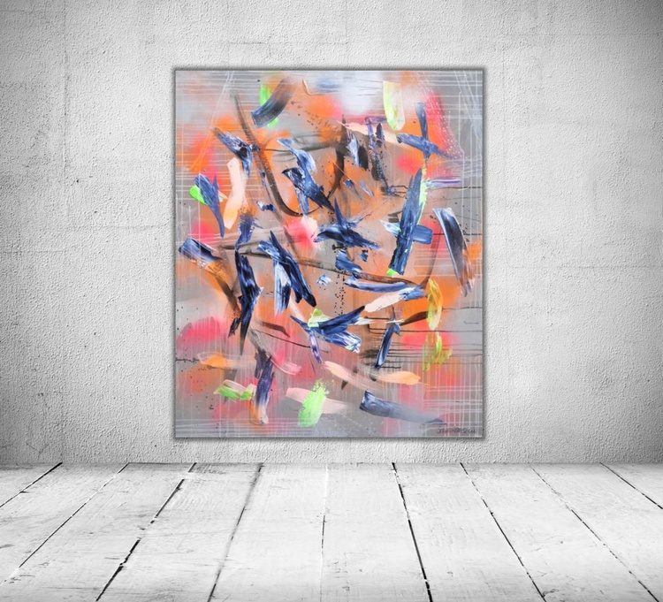 Space Odyssey #4 | large abstract Painting | 120x 100cm | orange pink green blue silver - Image 0