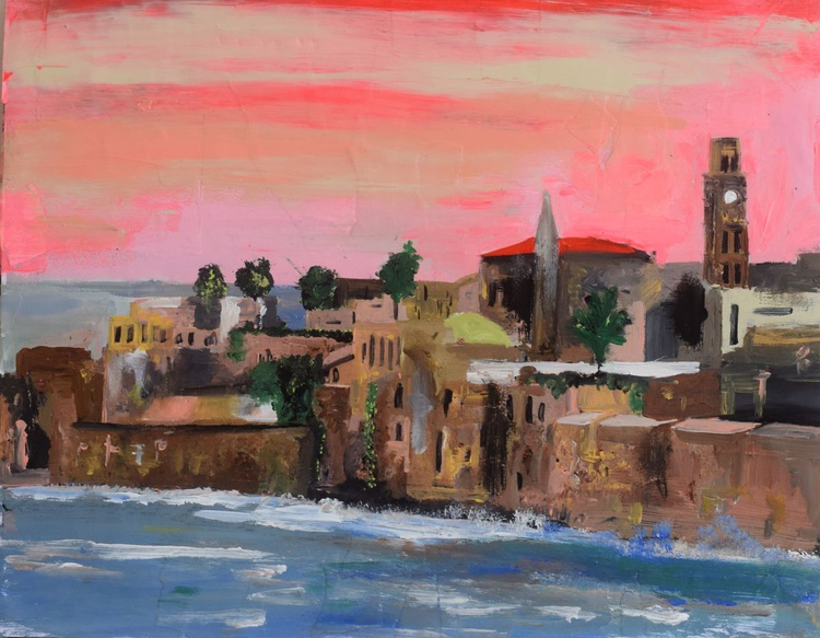 A View of Akko at Sunset - Image 0