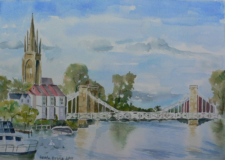 Marlow on Thames 1, souvenir, ready to hang, framed watercolor - Image 0
