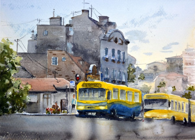 Two yellow buses, original landscape watercolor painting by Nenad Kojic - Image 0