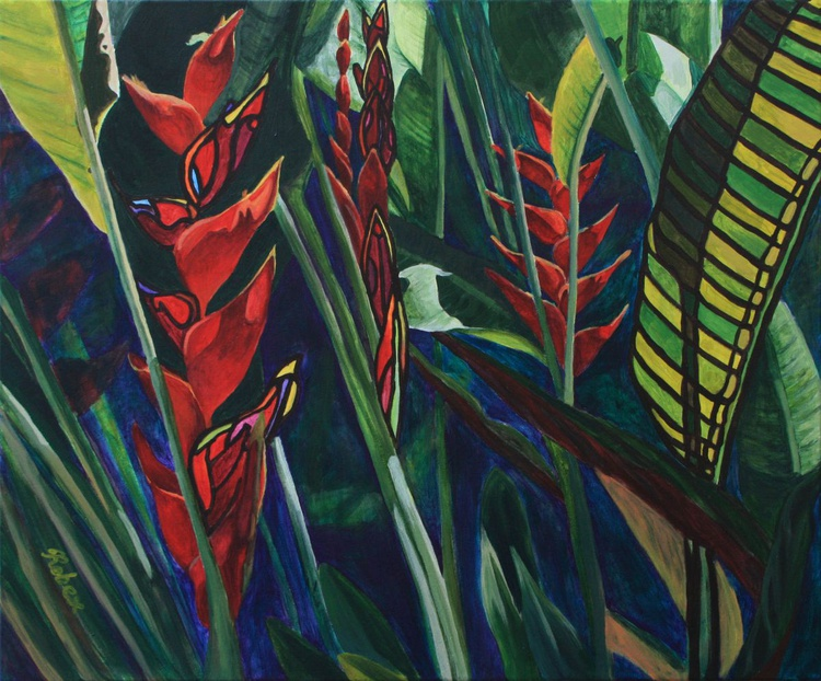 Heliconia (51 cm by 61 cm, 20 in by 24 in, ready to hang) - Image 0