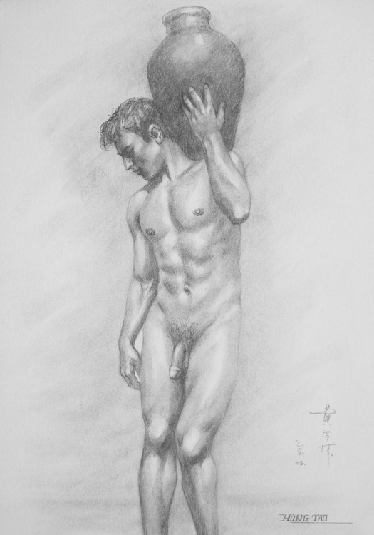 original art drawing charcoal male nude boy stean on paper #16-5-25-01 - Image 0