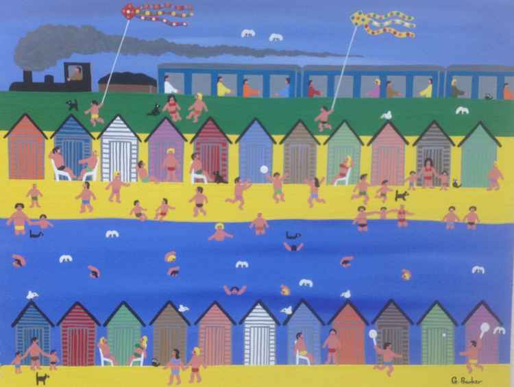 Summertime at the beach huts
