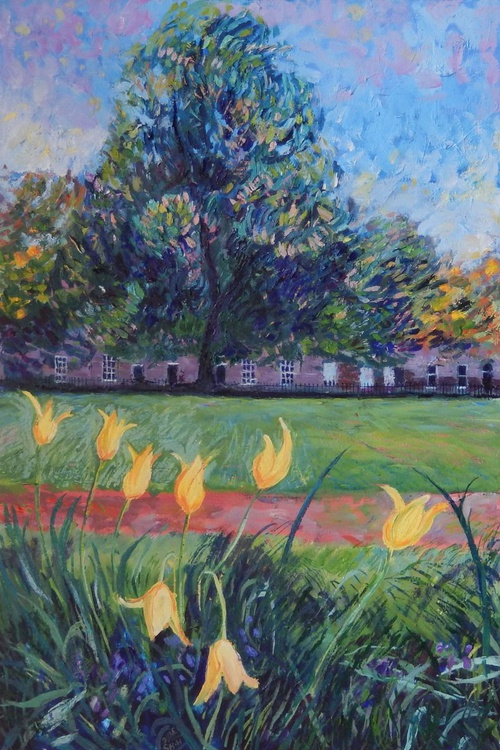 Tulips In Saxe Coburg Place, Edinburgh' - Oil paint on canvas - 50x76 - Image 0