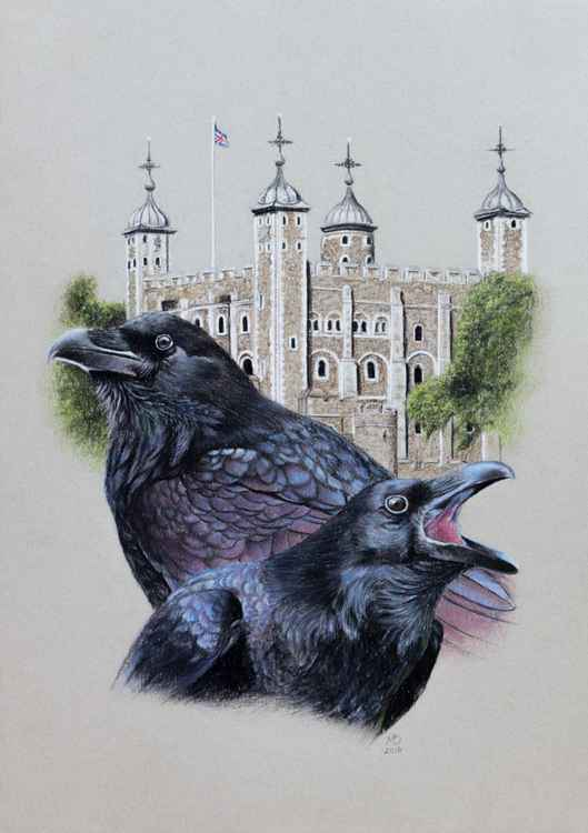 "Original pastel drawing ""Ravens of the Tower of London"" -"