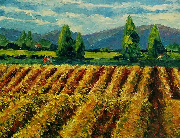 Meeting at the Vineyard, Landscape painting - Image 0