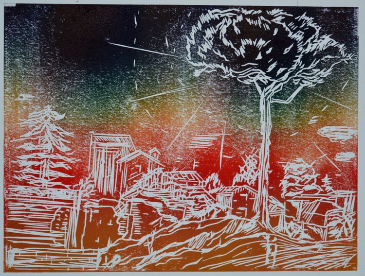 A Roman Holiday, Series 'Colours', Original Linoprint - Image 0