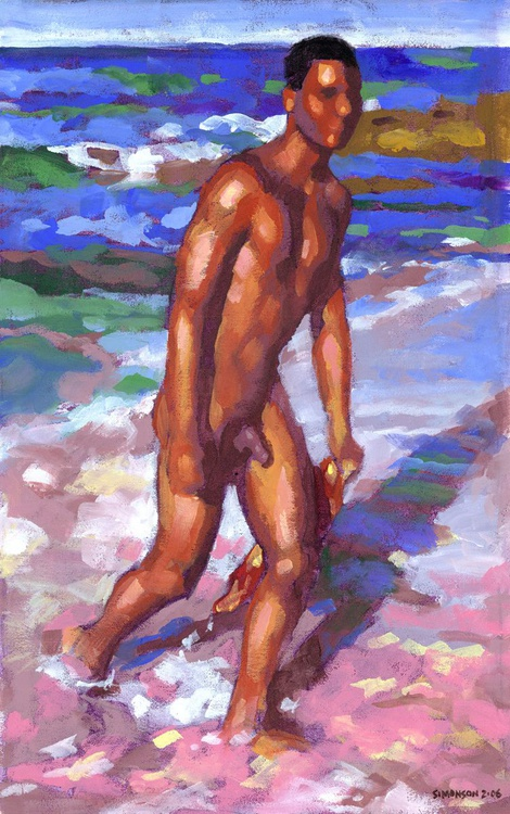Impressionist Male Nude at Diamond Head Beach - Image 0
