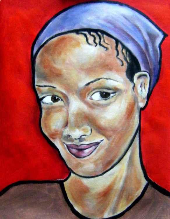 Girl in purple headscarf -