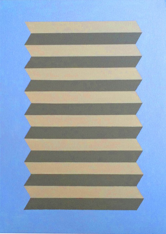 Geometric Op Art Perspective Canvas Painting - Image 0
