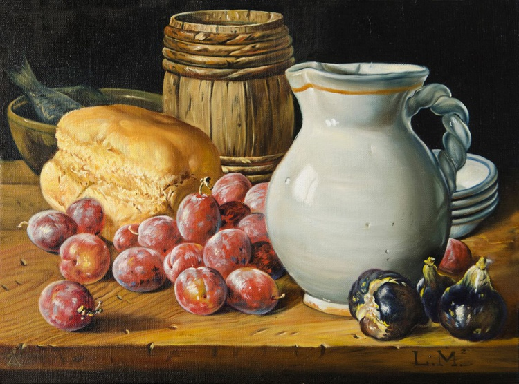 Still life with a jug, plums and bread. Original hand-made oil painted replica. - Image 0