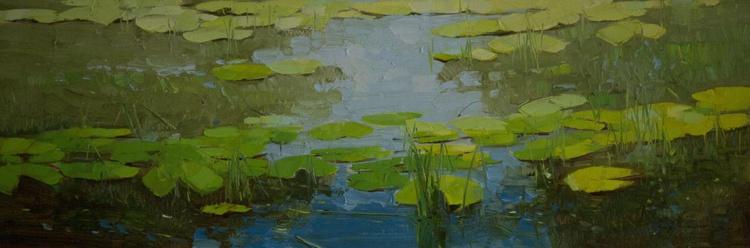 Cobalt pond Original oil Painting on Canvas Large Size - Image 0