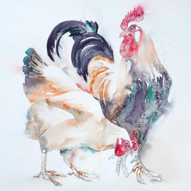 Sulmtaler cockerel and friend - Image 0
