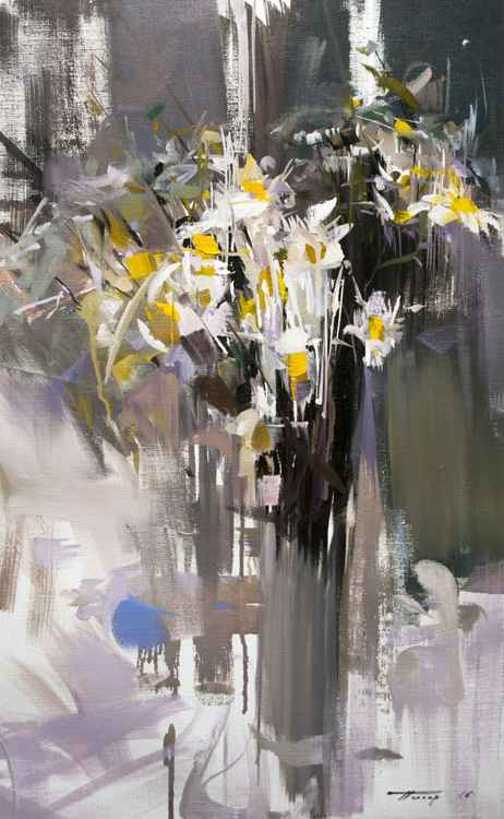 """Abstract Still Life Painting with Daisies """"Scent of the Rain"""" -"""