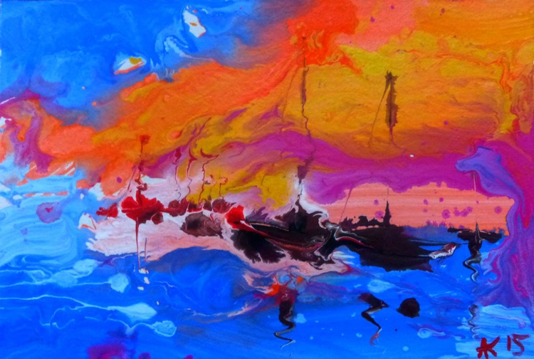 overturned the sea. original painting 30x20 cm - Image 0
