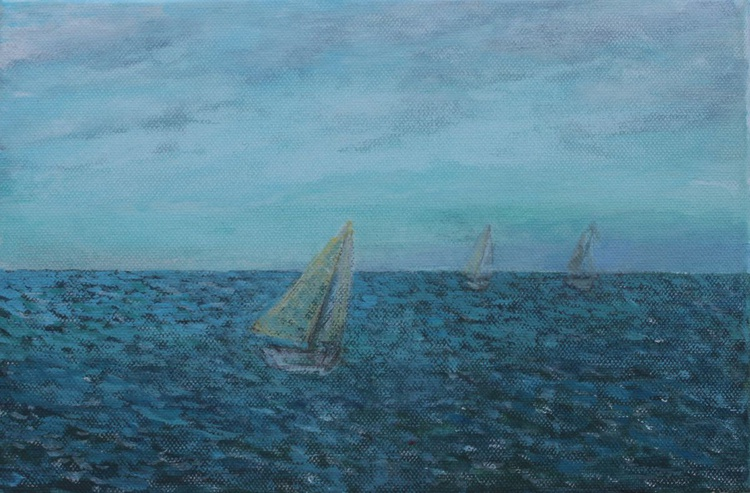 From Cycle Sea - Sailing Boats 2015, acrylic on canvas 20 x 30 cm - Image 0