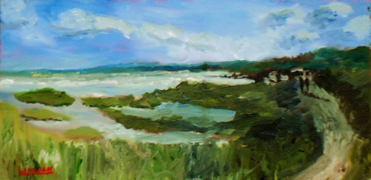 """Evening Light at Pegwell Bay - an original oil painting 6"""" x 12"""" on board. Lovely Gift! - Image 0"""