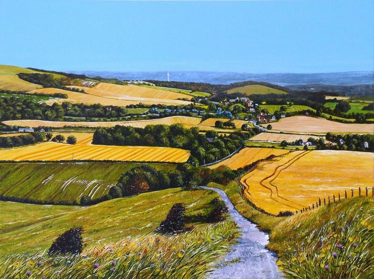 Harvest time over Glynde - Image 0