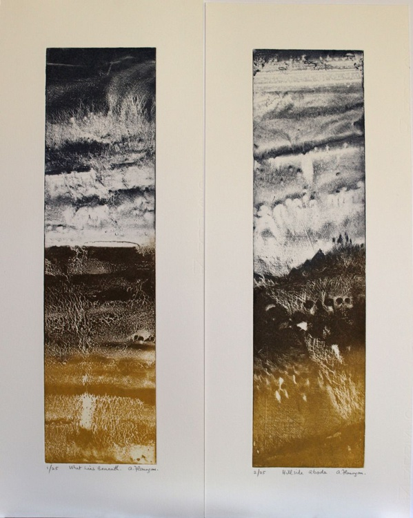 """Vertical Pair of Prints - """"Hillside Abode"""" and """"What Lies Beneath"""" - Image 0"""