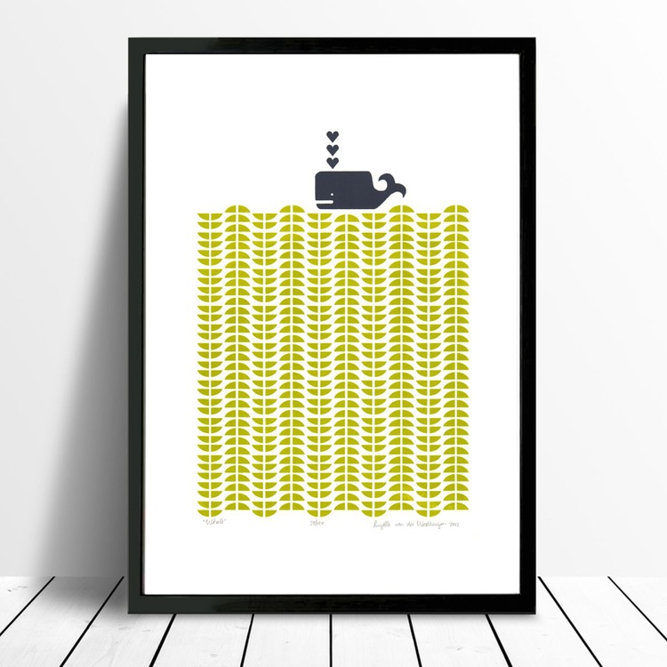 Whale in Chartreuse - Framed - FREE UK Delivery - Image 0