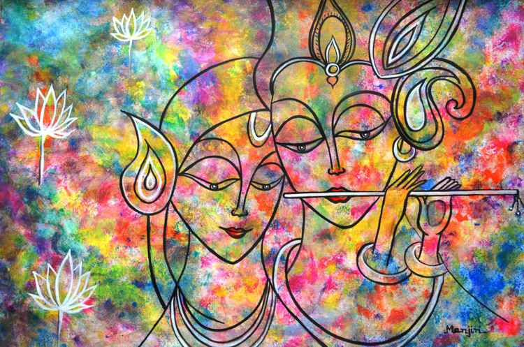 Radha Krishna Holi abstract colorful  painting -