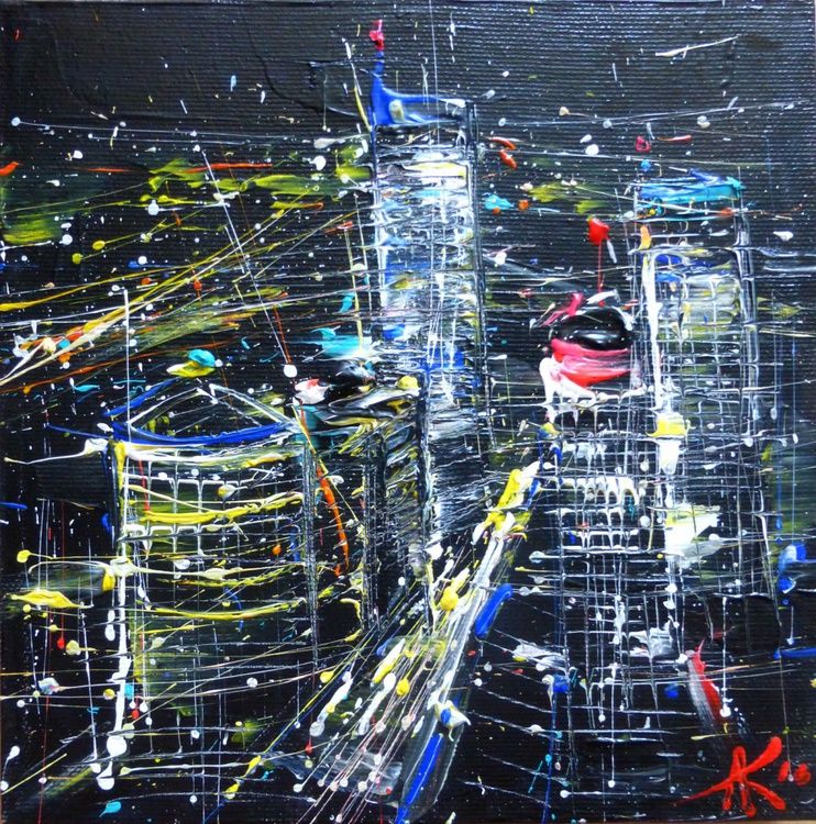 Night city, mini art 19x19 cm - Image 0