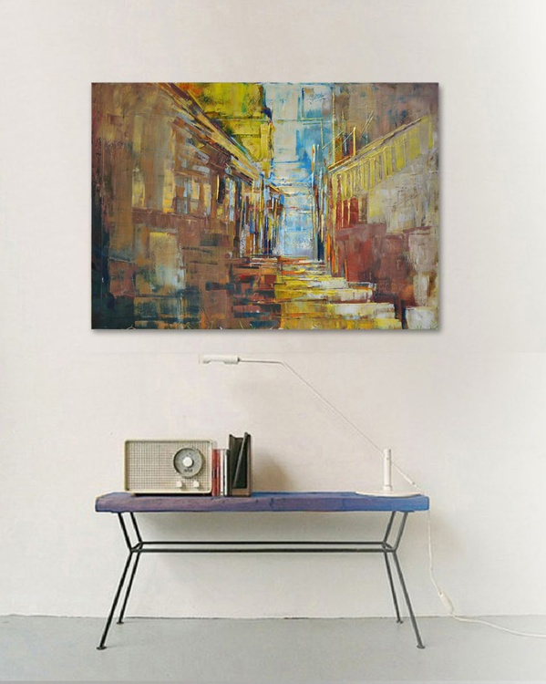 """City XV"" 100/70 cm oil painting, canvas. - Image 0"