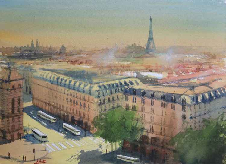 "Paris, The view from the rooftop terrace of ""Lafayette Gallery"""