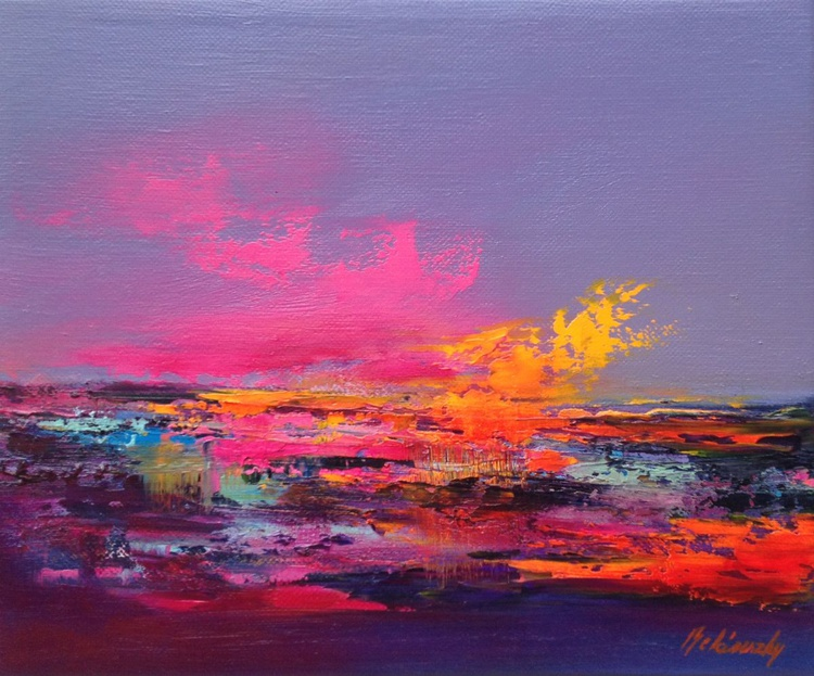Colour Boom II - 25 x 30 cm, abstract landscape oil painting in purple, turquoise and orange - Image 0