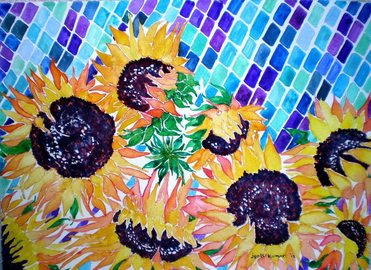 Sunflowers and Tiles - Image 0