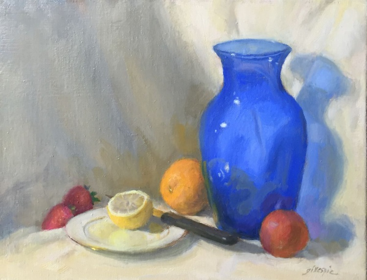 Blue Vase with Fruit - Image 0
