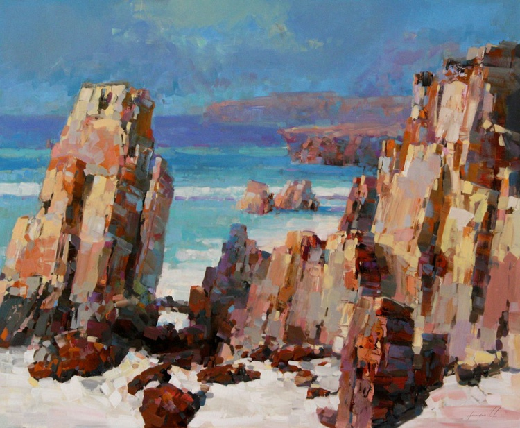 Ocean Cliffs Impressionism Large size oil Painting Ready to Hang One of a Kind - Image 0