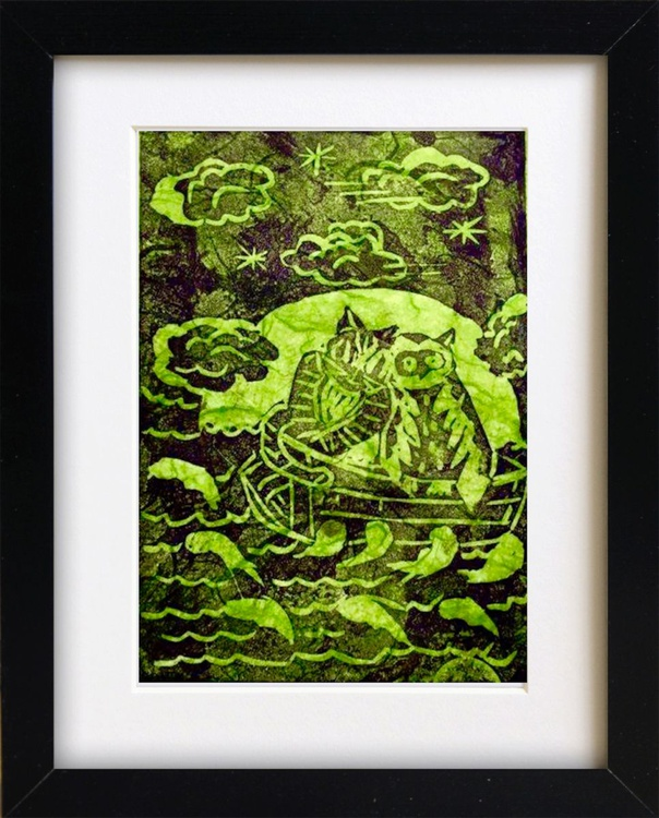 Owl and the Pussycat (in a Pea Green Boat), Framed Ready to Hang Original Handmade Linocut - Image 0
