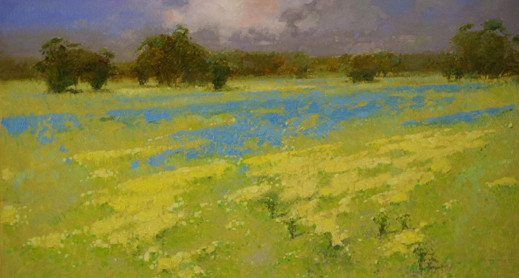 Meadow Handmade oil painting One of a kind Large Size - Image 0