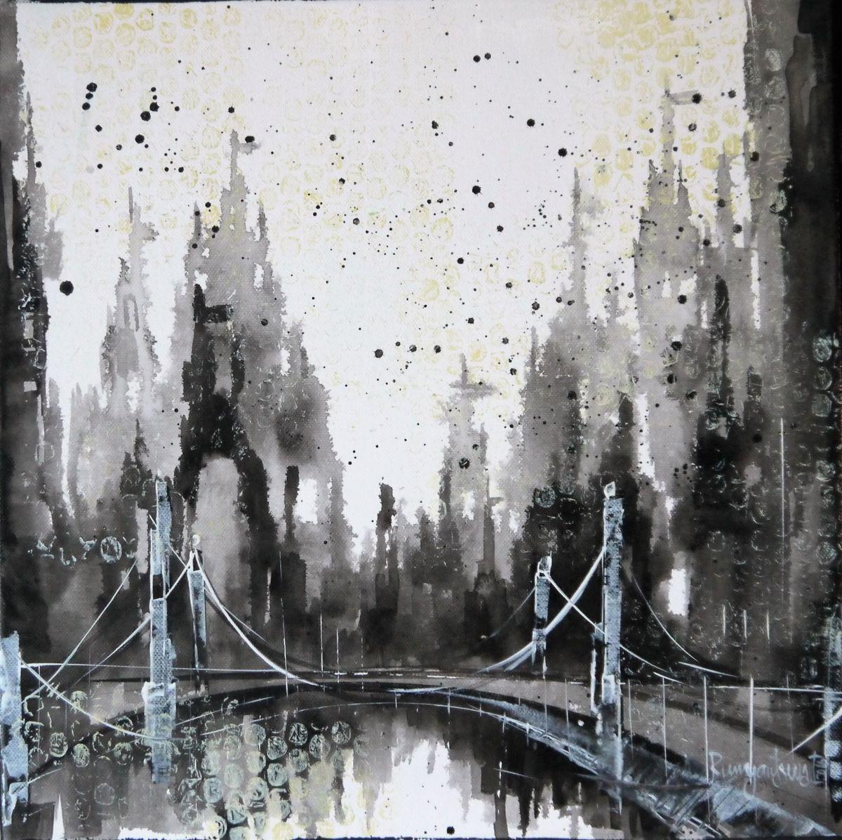 Black And White Skyline 2016 Acrylic Painting By Irina