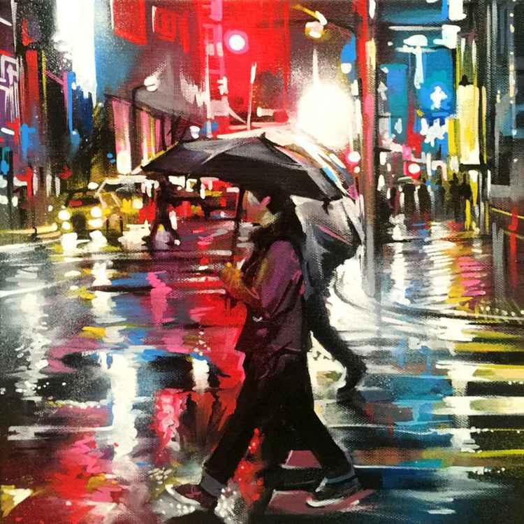 'Tokyo Rain - Study 1' - original painting