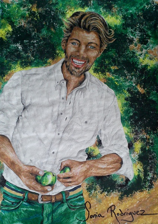 Man with green apples - Image 0