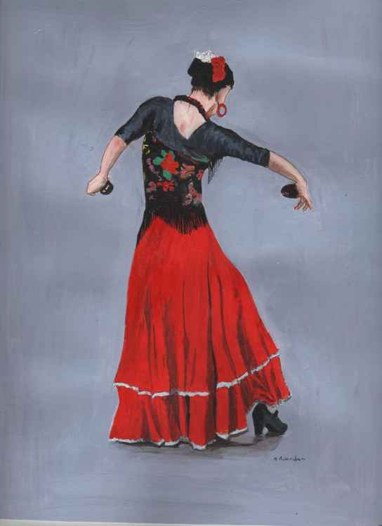 SPANISH DANCER IN RED WITH CASTANETS