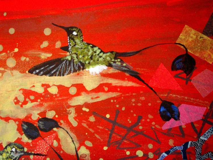 Red booted hummingbird triptych - Image 0