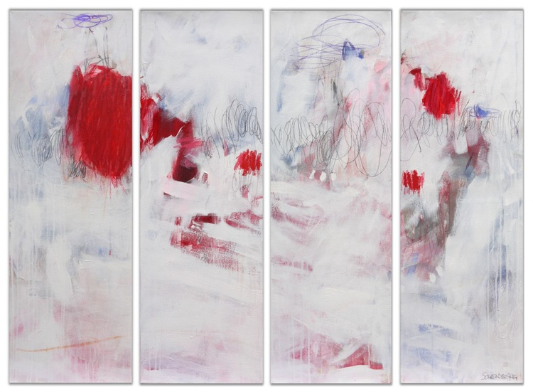 Four Roses | large abstract | Quadryptich | white red blue rose - Image 0