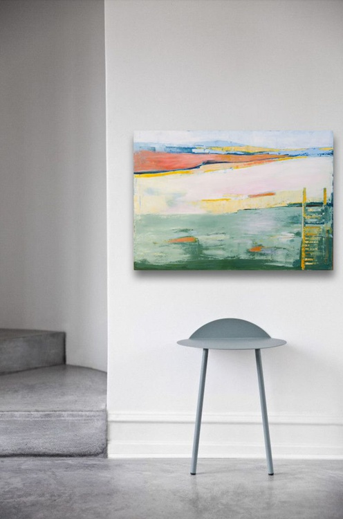 Abstract painting, large canvas art 39.37/27.5(100/70cm). Deserted beach. - Image 0