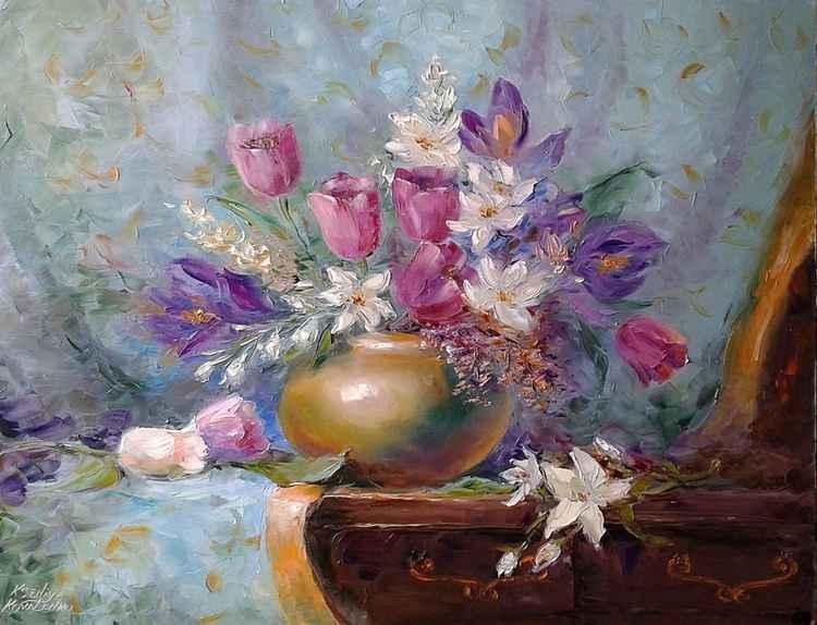 painting *Тюльпаны.Так грациозны, так божественно милы...*  Oil on canvas 90х70 cm