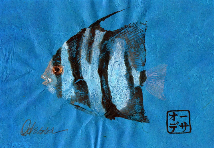 Single Spadefish Gyotaku (Fish Rubbing) on Blue - Image 0
