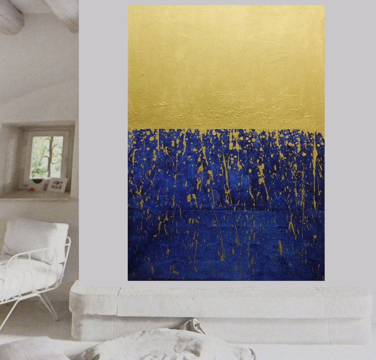 Golden Stroke over the sea - Large textured painting - Image 0