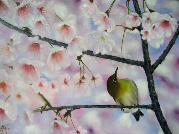 Bird in the spring garden -