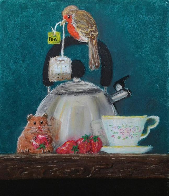 """REFLECTIVE TEA-TIME"", pastel painting, 22x30cm (9""×12"") - Image 0"
