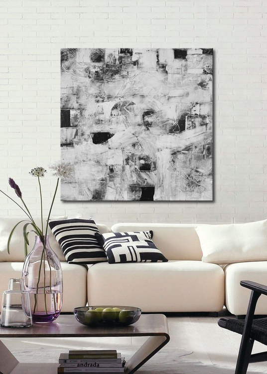Structures XI - large abstract painting black, white and grey on canvas - Image 0